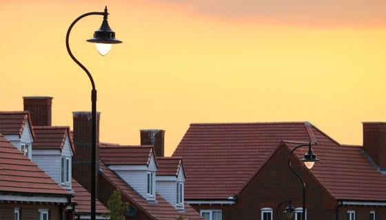 Sunset shot of a row of houses